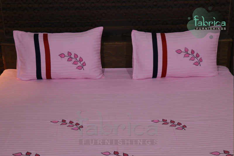 Fabby Royal Designer Light Pink Embroider king Size Bed Sheets