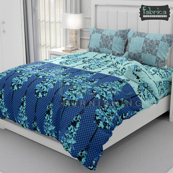 Fabby Decor Designer Print Glace Cotton King Size Bed Sheets