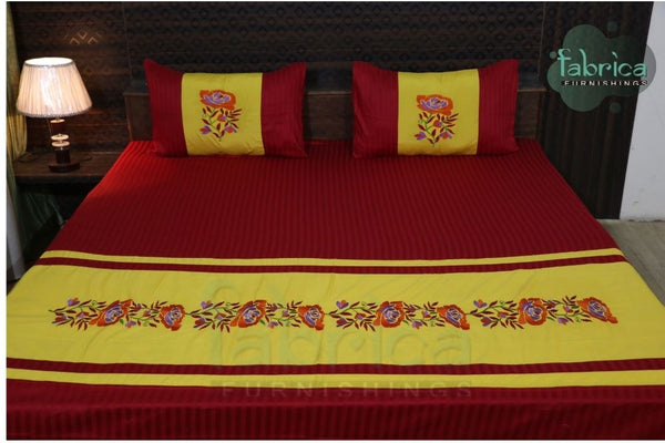 Fabby Decor Designer Embroidered Double Bed king Size Bed Sheets