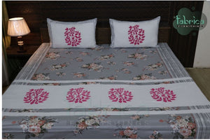 Fabby Royal Designer Embroidered Double Bed  king size  Bed sheets