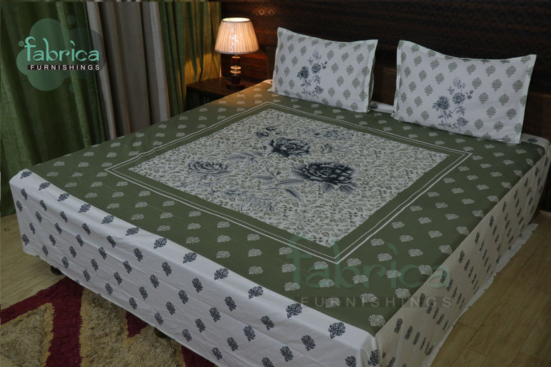 Fabby Decor Designer Print Cotton Super King Size Bed Sheets
