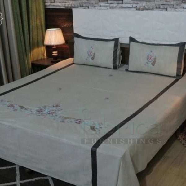Royal Superfine Cotton Embroidered Double Bed King Size Bed Sheets
