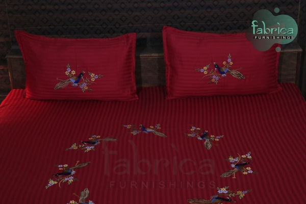 Fabby Peacock Embroider Double Bed King Size Bed Sheets
