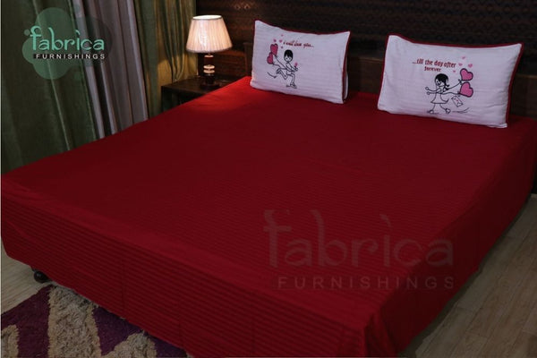 Fall in Love Couple Double Bed Embroidered King Size Bed Sheets