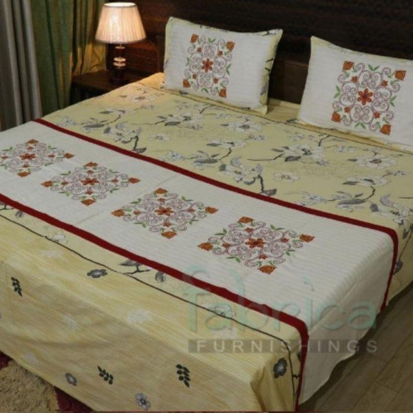 Fabby Decor Classic Embroider Cotton Designer Double Bed King Size Bed Sheets