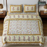 Fabby Decor Designer Print Cotton Double Bed Queen Size Bed Sheets (90*108 Inch)