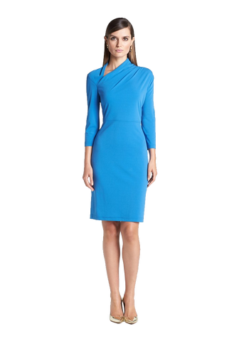 Asymmetrical Collar Matte Jersey Dress