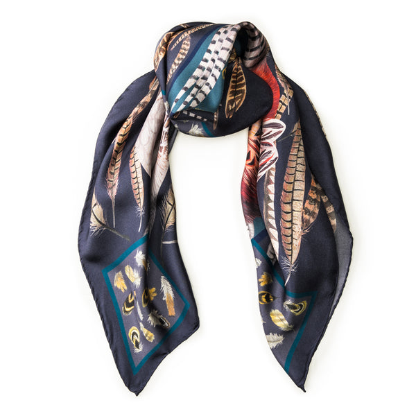 The Covey Silk Scarf - Midnight