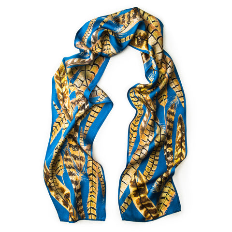 The Feather Skinny Scarf - Cornflower Blue