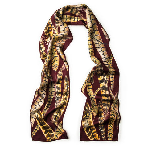 The Feather Skinny Scarf - Iris Burgundy