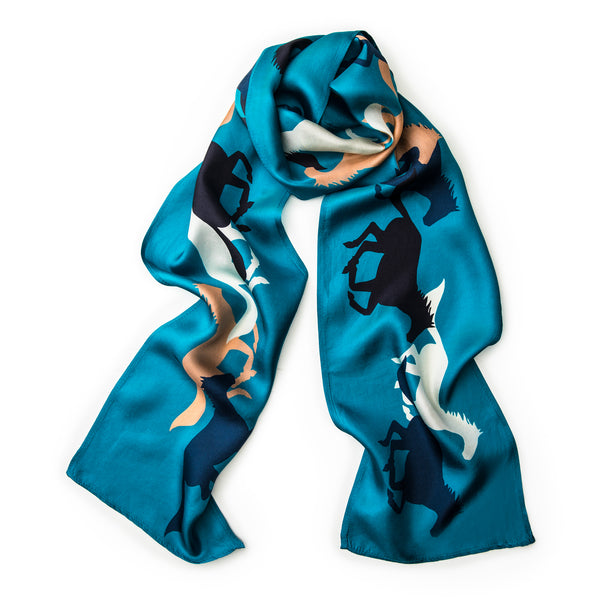 The Gallop Skinny Scarf - Azure Blue