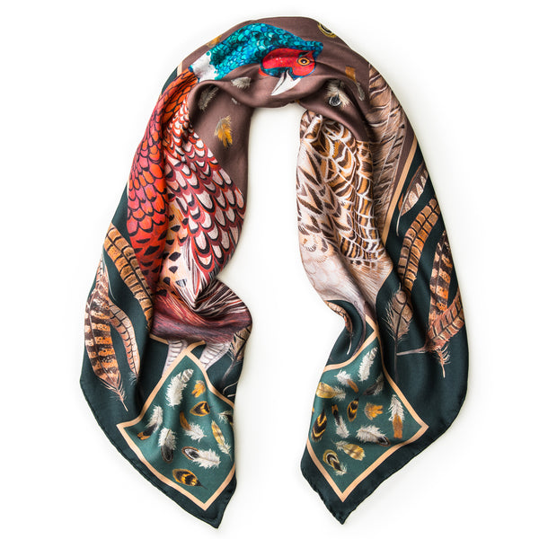 The Covey Silk Scarf - Forest