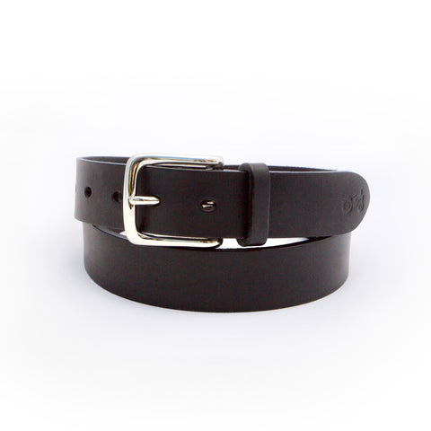 "Islay 1.25"" Black Leather Belt"