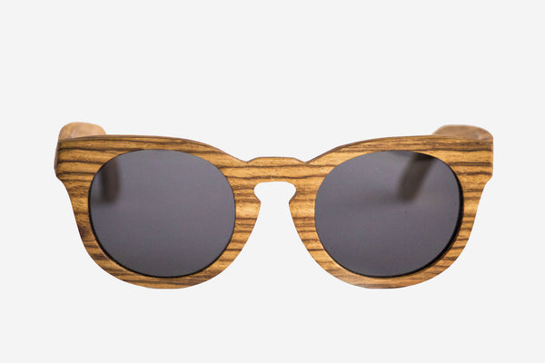 Vice-Roy Amazon Sunglasses in Zebra Wood. Black Polarized Lenses. Main Image.