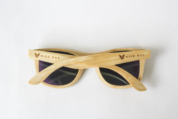 Vice Roy Birdwing Australis. Bamboo with Revo Green Polarized lenses.  Rear arms closed.
