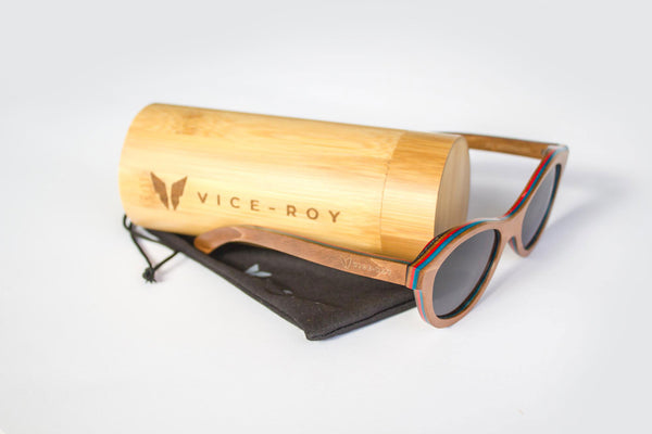 Vice-Roy St Germain Sunglasses in Skateboard Wood.  Black Polarized Lenses. With Bamboo Case.