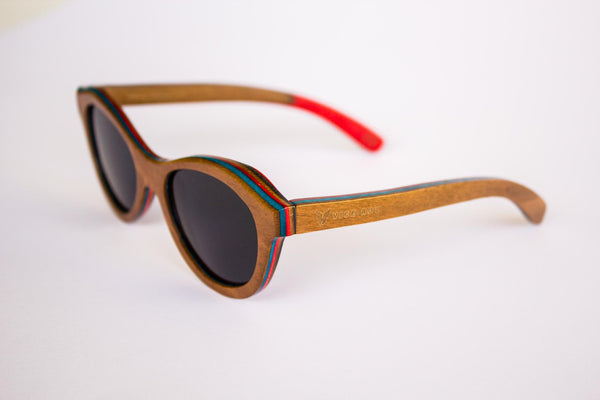 Vice-Roy St Germain Sunglasses in Skateboard Wood.  Black Polarized Lenses. Front Left Oblique.