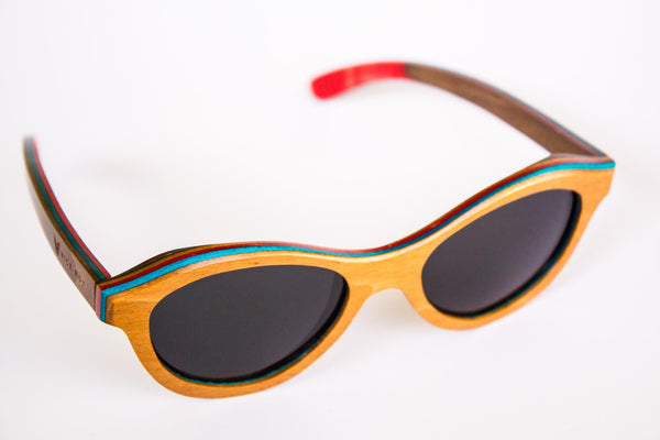 Vice-Roy St Germain Sunglasses in Skateboard Wood.  Black Polarized Lenses. High Right Oblique.