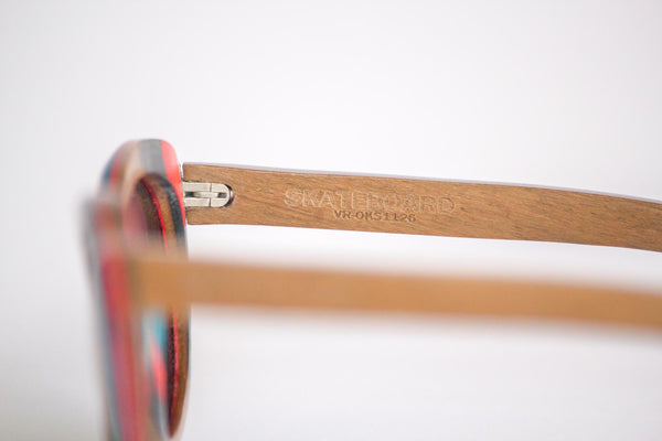 Vice-Roy St Germain Sunglasses in Skateboard Wood.  Black Polarized Lenses. Left Profile Detail.