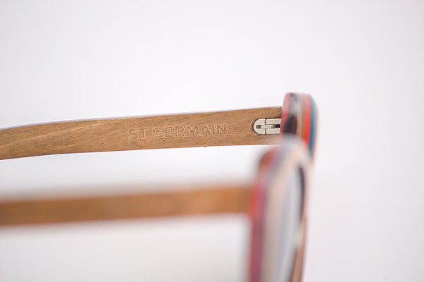 Vice-Roy St Germain Sunglasses in Skateboard Wood.  Black Polarized Lenses. Right Profile Detail.