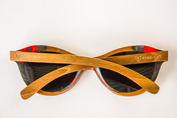 Vice-Roy St Germain Sunglasses in Skateboard Wood.  Black Polarized Lenses. Rear with Arms closed.