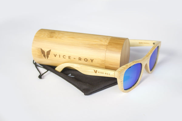 Vice Roy Birdwing Australis. Bamboo with Revo Green Polarized lenses.  Oblique with bamboo case.