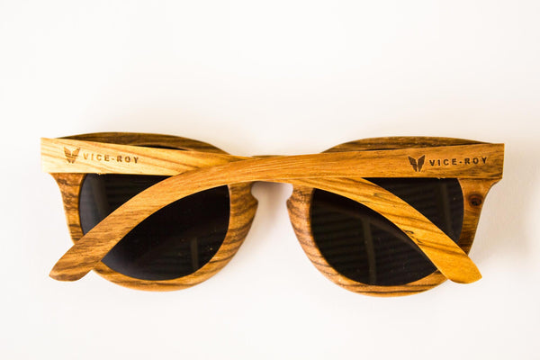 Vice-Roy Amazon Sunglasses in Zebra Wood. Black Polarized Lenses. Rear, arms closed.