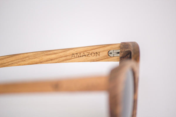Vice-Roy Amazon Sunglasses in Zebra Wood. Black Polarized Lenses. Right Profile Detail.