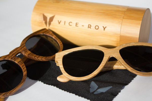 Vice-Roy Amazon Sunglasses in Zebra Wood. Black Polarized Lenses. With Vice Roy Jezebel and Bamboo case