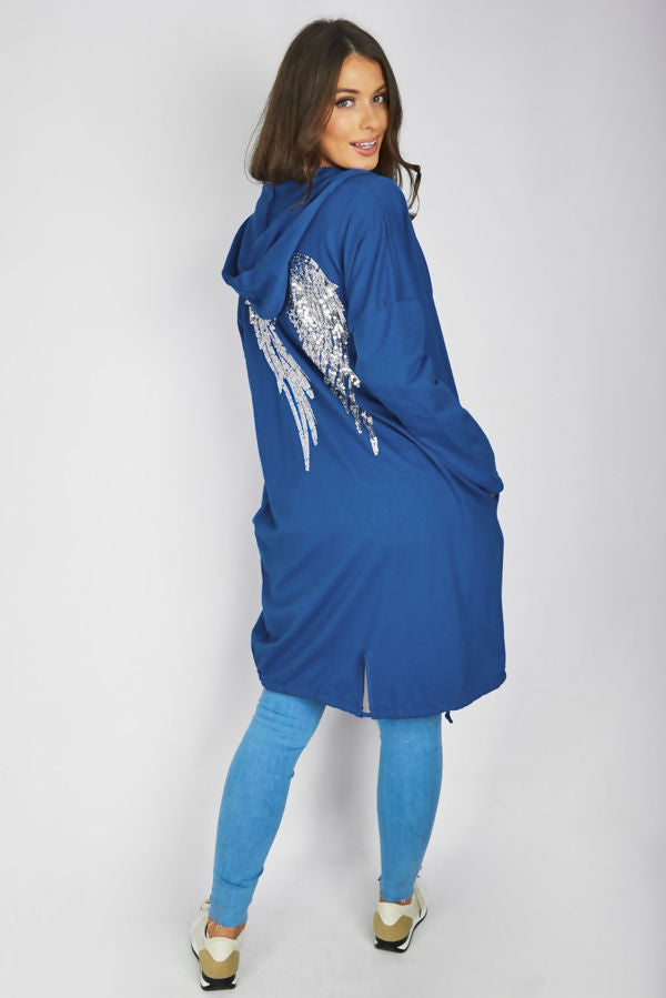 Angel Wing Hooded Cardigan Blue
