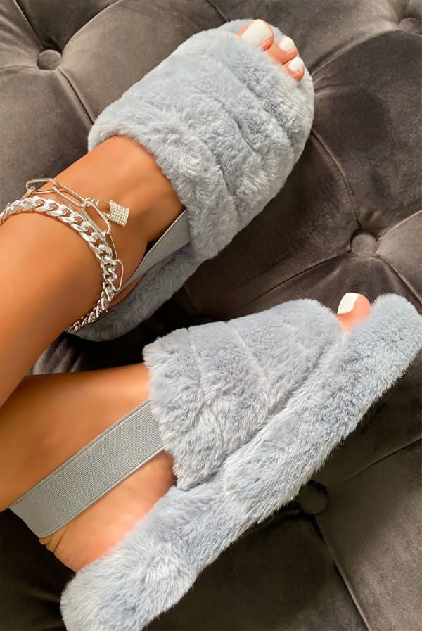 Silver Grey Fur faux Slippers