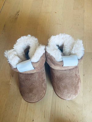 Kids faux fur boots camel