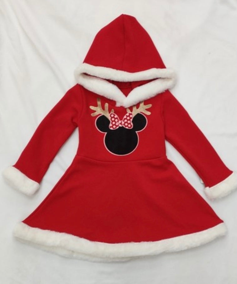 Girl Santa dress with Minnie Mouse