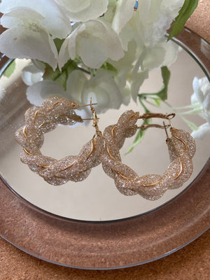 Gold sparkle twist earrings