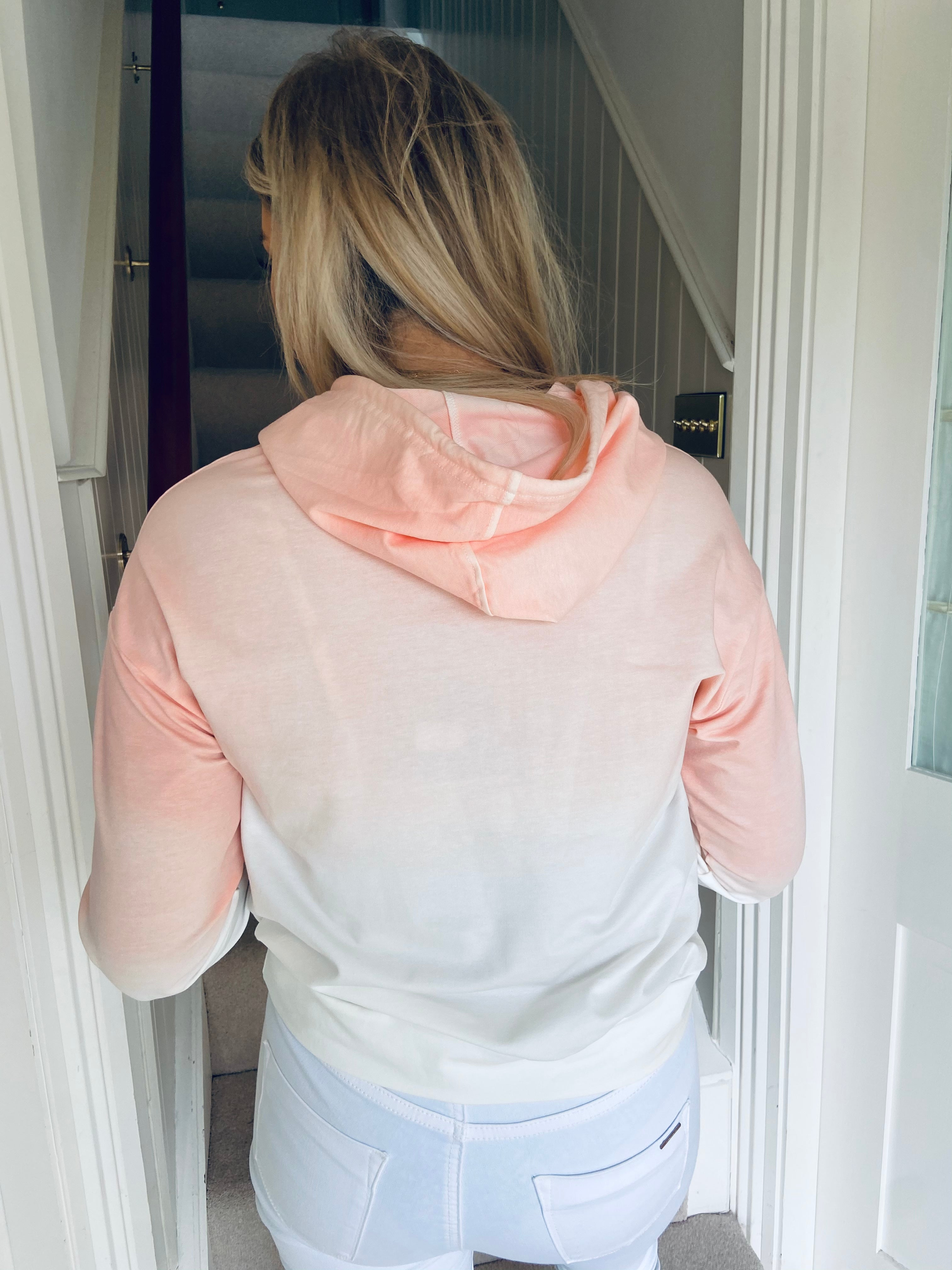 Ombré hooded top coral