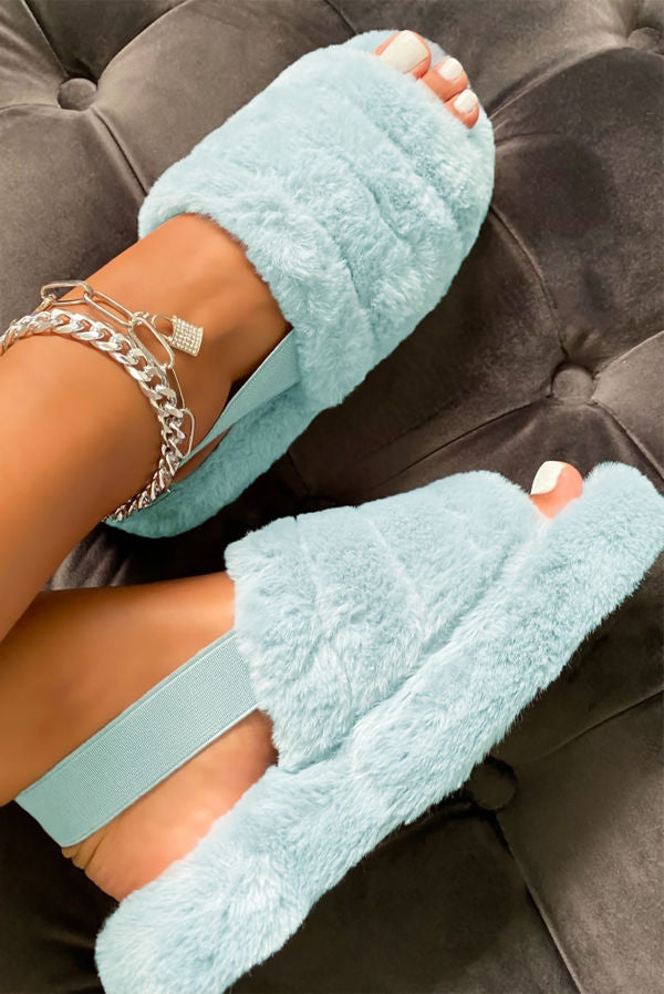 Baby Blue Faux Fur Slippers