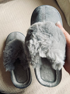Diamanté mule slippers grey