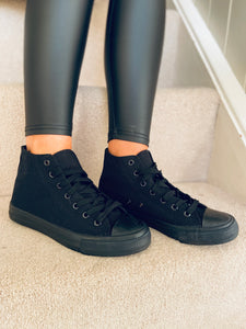 Mono black high top canvas trainers black