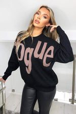 V Slogan Jumper Black