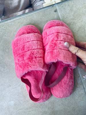 Hot Pink Faux Fur Slippers