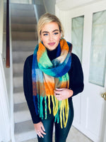 Large Blue Multi Scarf