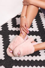 Faux Fur Strap Slippers Pink