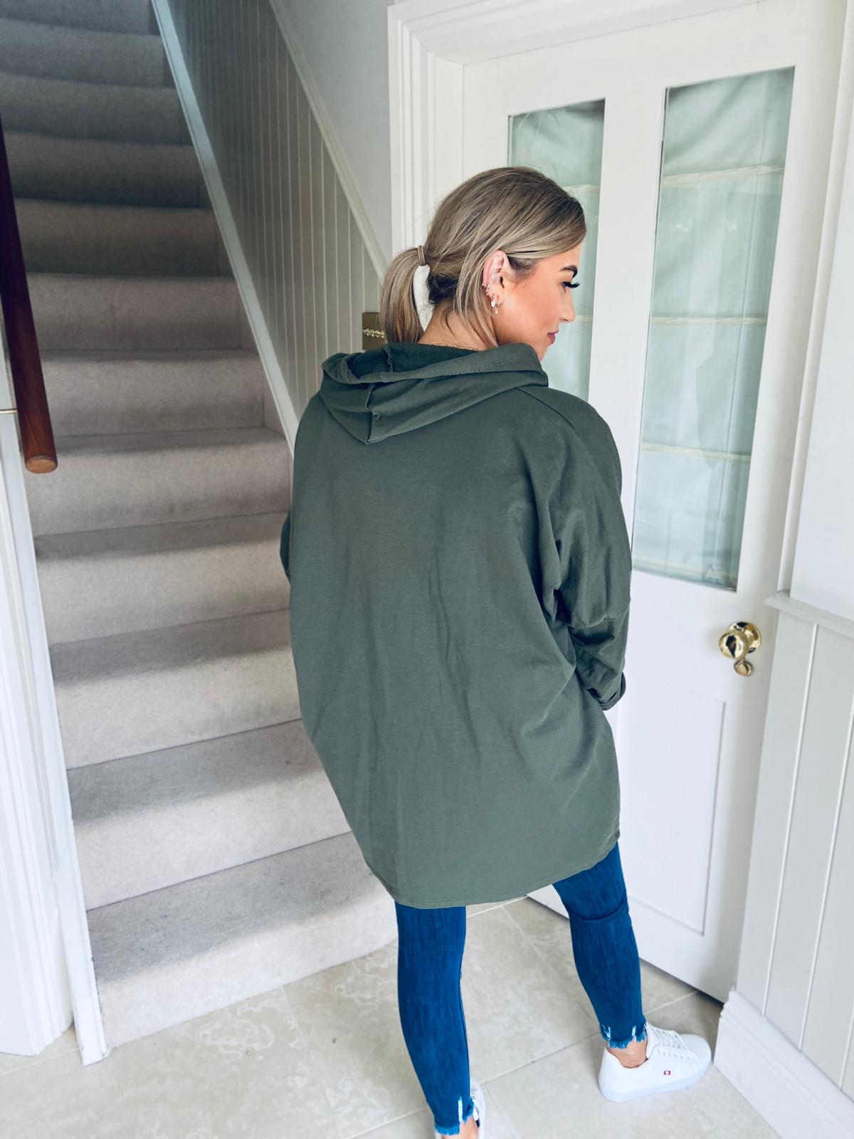 Hooded Longline Top Khaki
