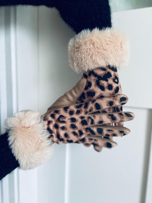 Leopard Gloves Beige