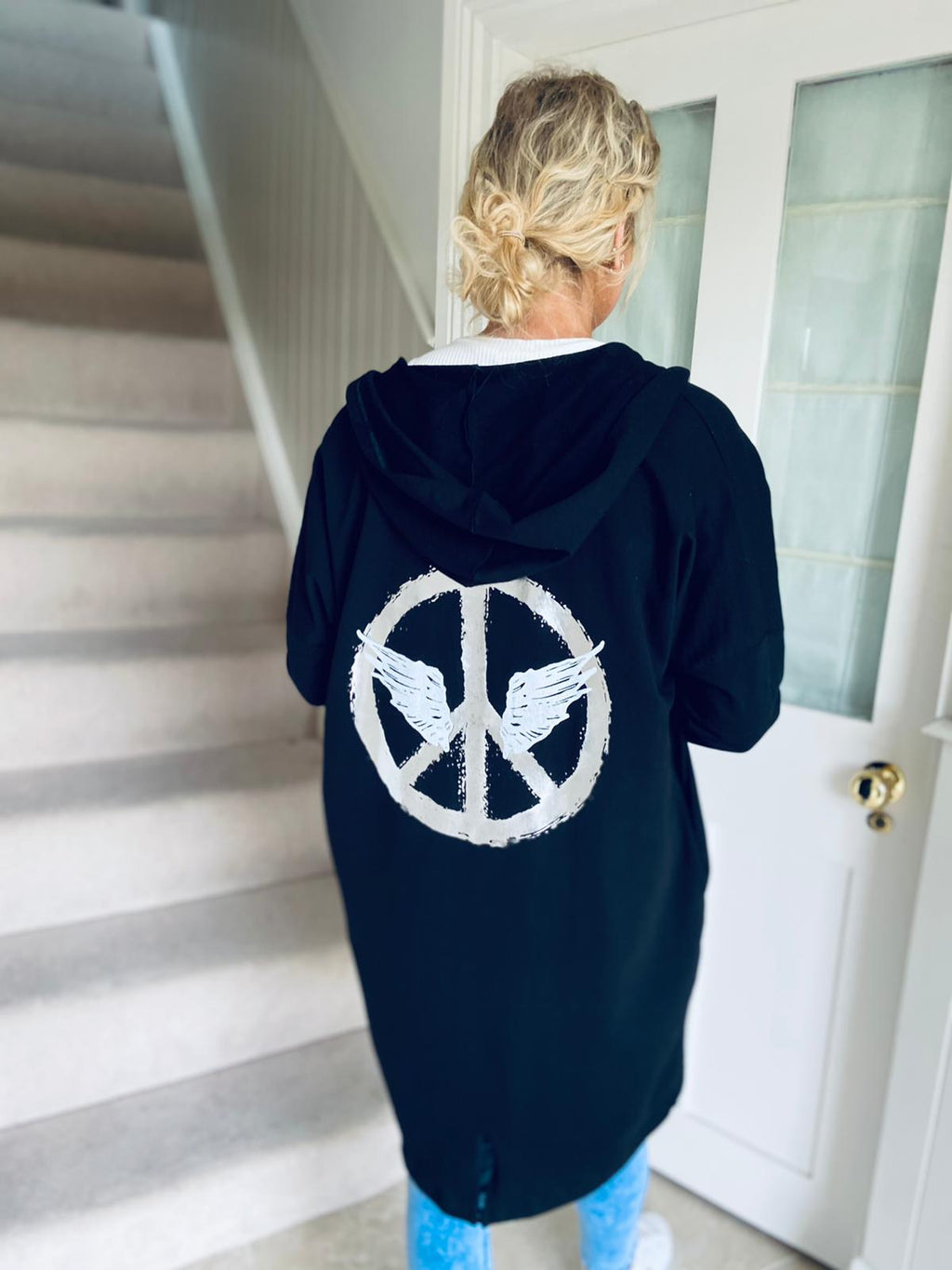 Peace Hooded Cardi Black
