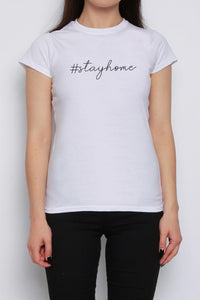 Stay home Slogan Tee Baby White