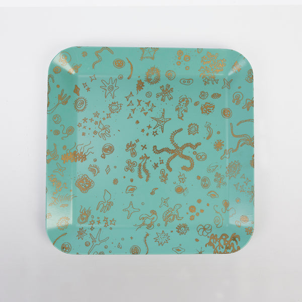 Original Vintage 1954 Waverly Products Ray Eames 'Sea Things' Serving Tray - Blue & Gold