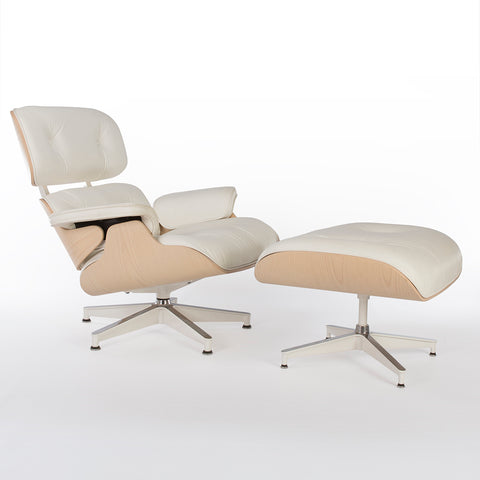 Special Edition White Hot Herman Miller Original Eames Lounge Chair & Ottoman