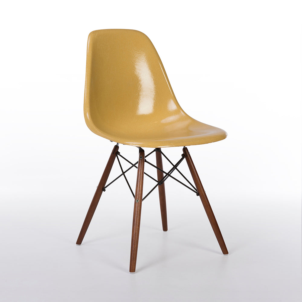 front view of Ochre Light Herman Miller Vintage Original Eames DSW Side Shell Chair