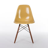 Front view of Light Ochre Herman Miller Vintage Original Eames DSW Side Shell Chair